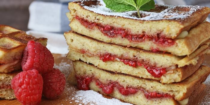 Raspberry Brie Grilled Waffles